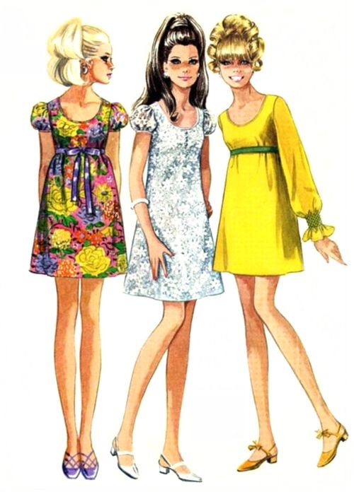 1960s fashion Empire Line Baby Doll Dresses '60's fashion was as much about the hair as the clothes!..mar16