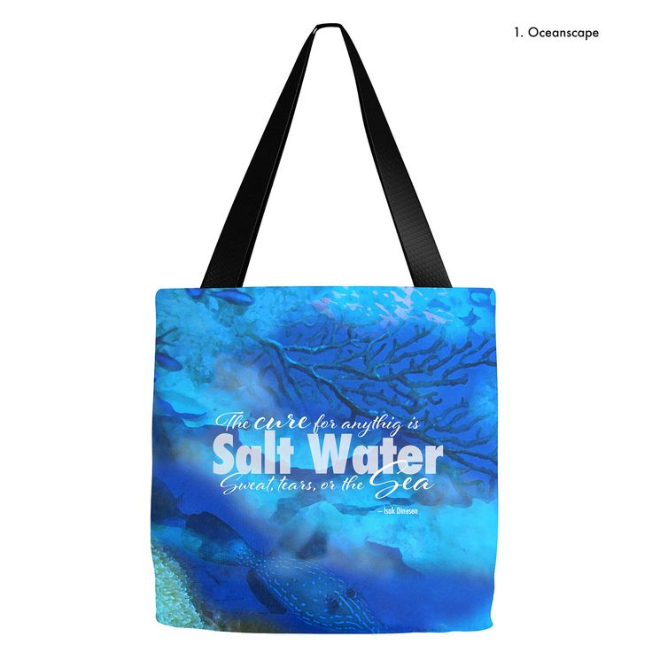 Isak Dinesen quote tote | Beach Tote | Cure for anything is Salt Water | Beach Tote Bag- 16 x 16 or 18 x 18 |  Beach bag, summer tote by LifeisBalance on Etsy