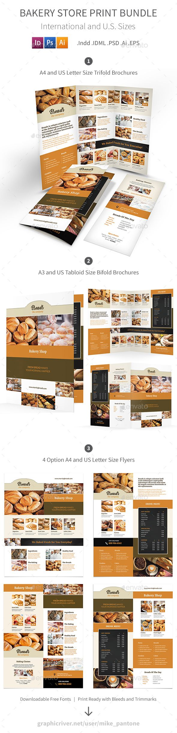 Bakery Store Print Brochure Template Bundle - PSD, Vector EPS, InDesign INDD, AI Illustrator
