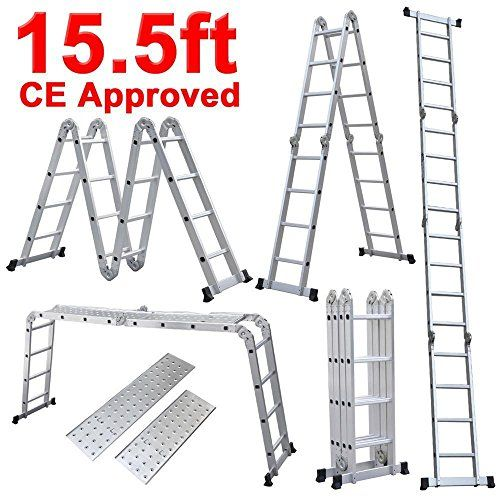 Telescopic 15.5ft 5.0M Multi Folding Aluminium Ladder Extendable EN131 US Stock
