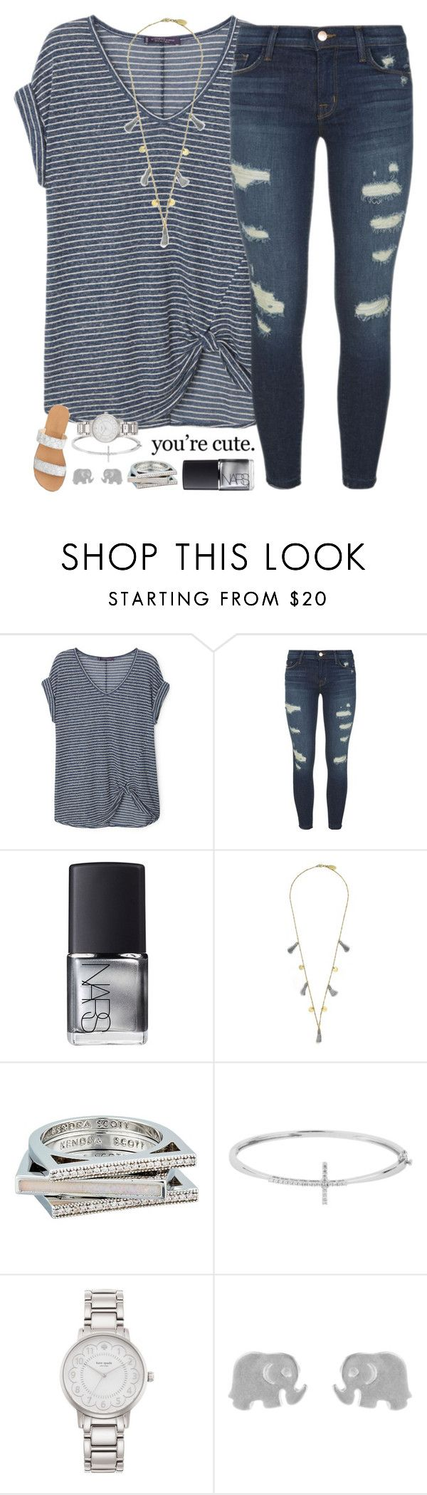 """""""You're cute."""" by lilypackard ❤ liked on Polyvore featuring Violeta by Mango, J Brand, NARS Cosmetics, Feather & Stone, Kendra Scott, Reeds Jewelers, Kate Spade, Dogeared and J.Crew"""