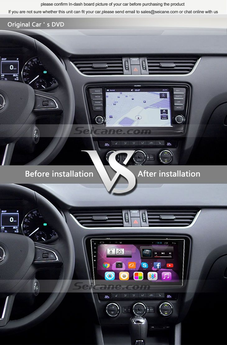 Seicane S081690 Quad-core Android 4.4 Radio GPS Audio System for 2012-2015 Skoda OCTAVIA original car's CD