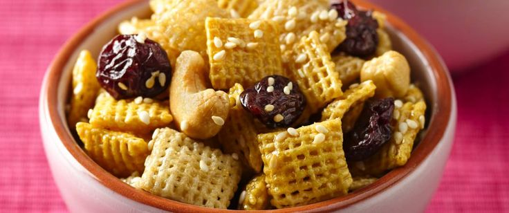 Serve up a taste of cherry country with this crunchy snack made with Honey Nut Chex cereal, Rice Chex cereal, cashews and cherries.