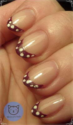 French manicure with dots