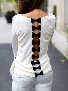 White Round Neck Bow Back Blouse