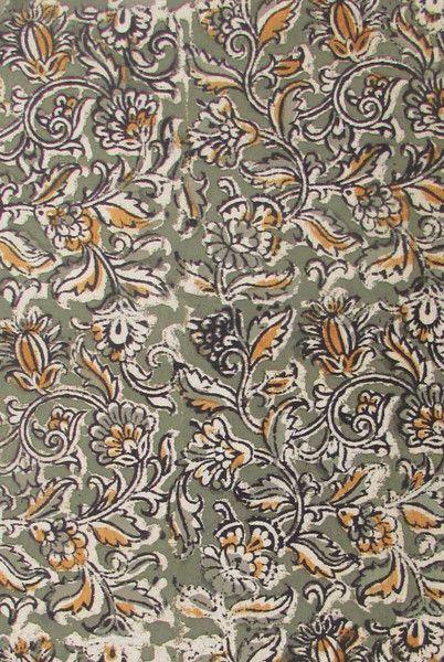 Kalamkari Block Printed Cotton Running Fabric