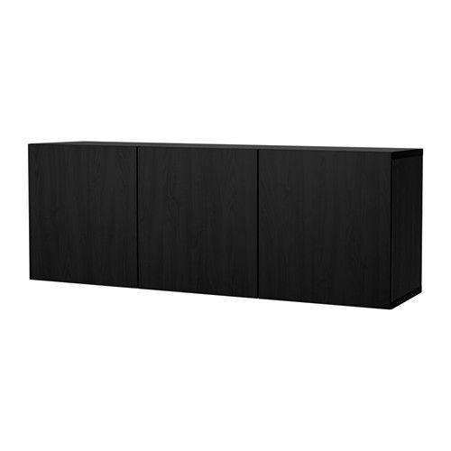 IKEA - BESTÅ, Kastencombinatie voor wandmontage, zwartbruin/Lappviken zwartbruin,