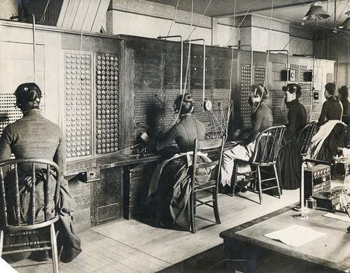 Switchboard operators at the sole Milwaukee telephone exchange, c. 1883.