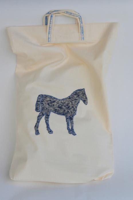 Although we love linen, we sometimes use other textiles too. Everything to make you happy!  Original, natural, cotton bag with embroidered, flannel, majestic but eye-friendly horse. Very detailed (I mean – look at those handles! Wow!). Ideal for shopping, travels or just for everyday clobber. Designed and (hand)made with love by JakSen.  Cotton is very resilient, smooth and soft. Easy to use. Really hypoallergenic just like LINEN – fibre we use mostly and with all the passion we have…