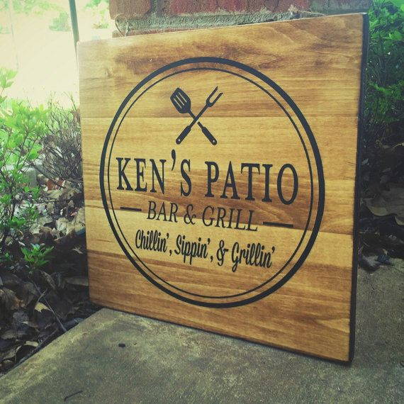 Custom Patio Sign Bar and grill sign Father's by NeverBoardDesigns