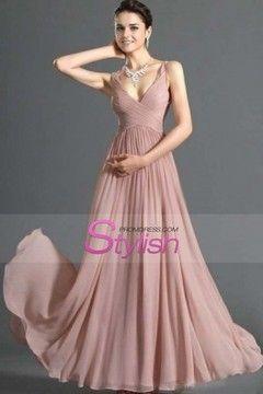 Simple Prom Dresses A Line V Neck Floor Length Chiffon Cheap Under 200 $ 119.99 STPH1BMF47 - StylishPromDress.com