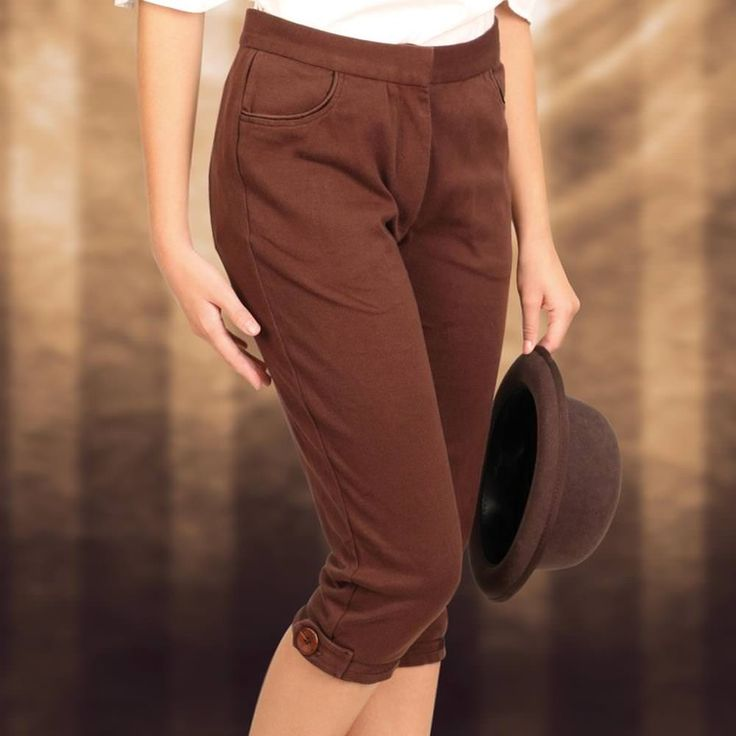 These soft brown, poly-cotton stretch pants will make just about any woman's steampunk ensemble as sporty as can be. It comes with pockets at the waist with a brown wooden button at the cuff. Click he
