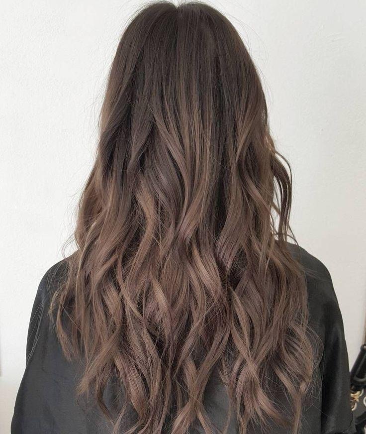 Long Ash Brown Hair - Matte grey brown colour
