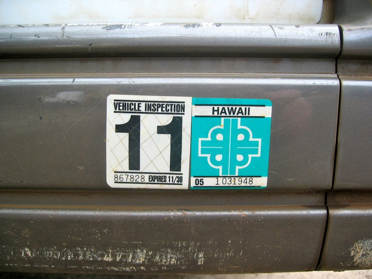 Hawaii Car sticker Vehicle inspection, Car stickers, Car