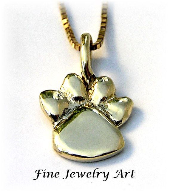 10 best paw print jewelry in 14k gold images on pinterest white solid 14k yellow gold paw print necklace by finejewelryart aloadofball Images