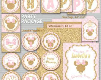 Rosa y oro paquete de fiesta de Minnie Mouse por ThePartyTown