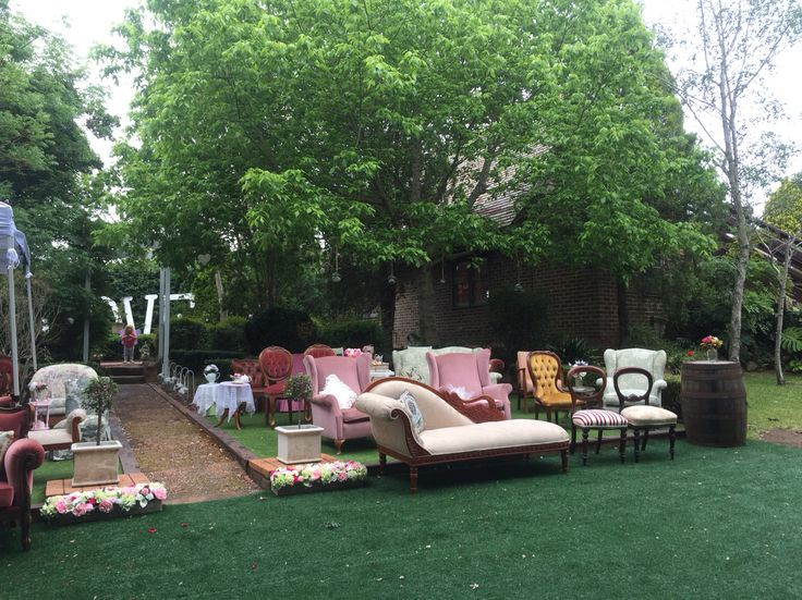 Eclectic seating for the guests
