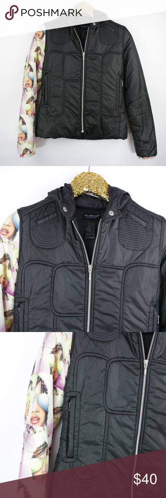 Custo Barcelona Black Hoodie Casual Puffer Jacket - Size: 2 - Excellent Condition.  - No trades, thank you! - Pet and Smoke-Free Home  - Same or Next day Shipping  Measurements:  Bust: 38 inches Length: 23 inches Sleeve Length: 25 inches Custo Barcelona Jackets & Coats Puffers