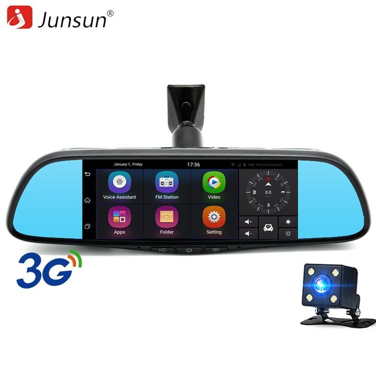 """Junsun 7"""" Touch 3G Special Car DVR Camera Mirror GPS Bluetooth 16GB Android 5.0 Dual Lens Full HD 1080p Video Recorder Dash Cam //Price: $174.44 & FREE Shipping //     #dashcam"""