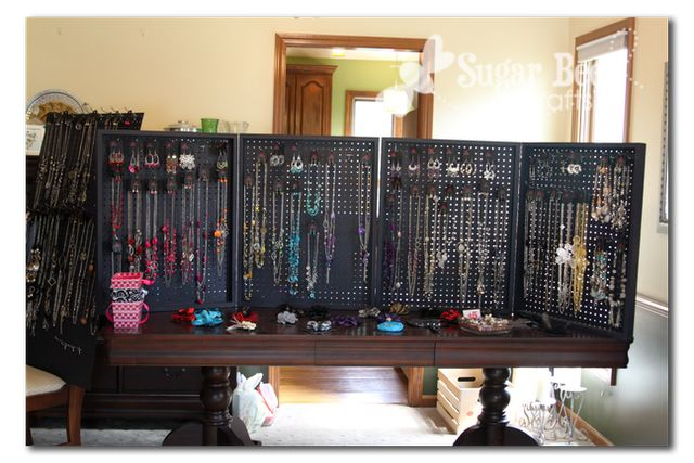 Peg Board Display Case...this would be great if you make and sell your own jewelry. Cases made from 1x2 in wood with pegboard screwed into the back, then all painted and hinged to close and latch for transport.