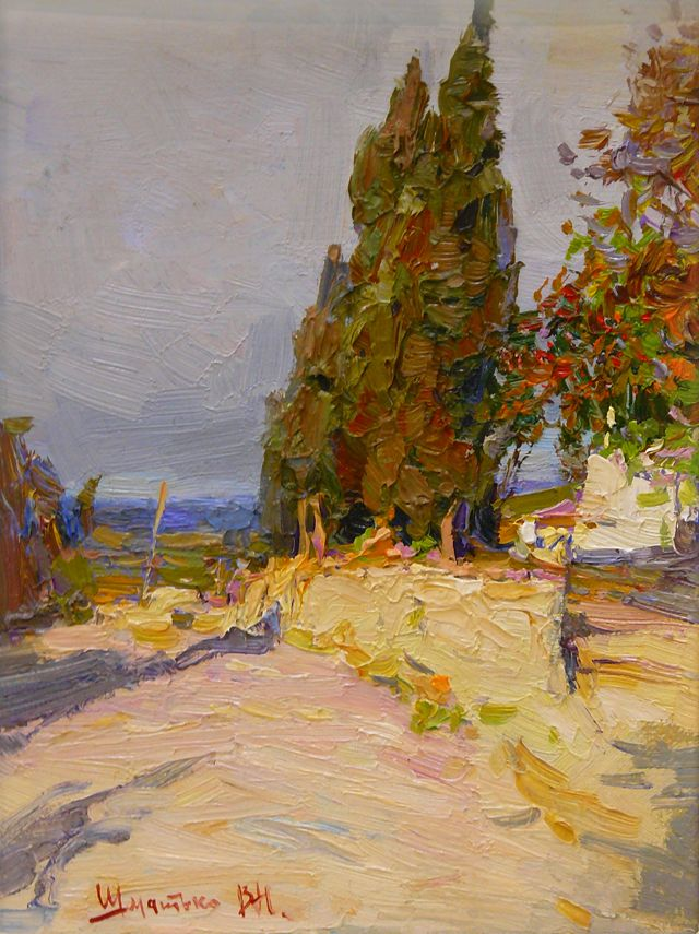 Sketch with cypresses in october by Valeriy Shmatko (Валерий Шматько). Source: http://www.odetka.com.ua/painters/v-shmatko