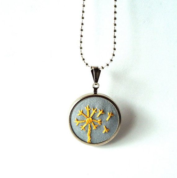 embroidered dandelion pendant