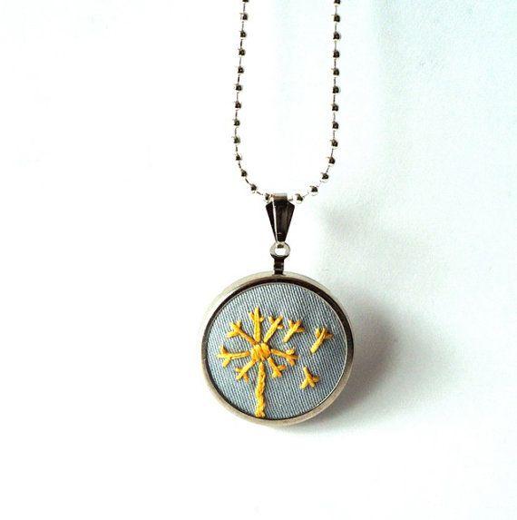 embroidered dandelion pendant