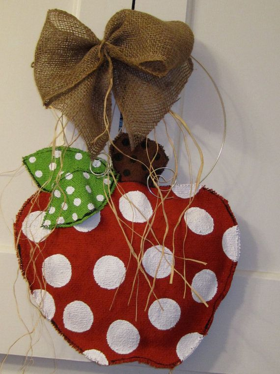 Apple Burlap Door Hanging Natural burlap by nursejeanneg on Etsy, $25.00