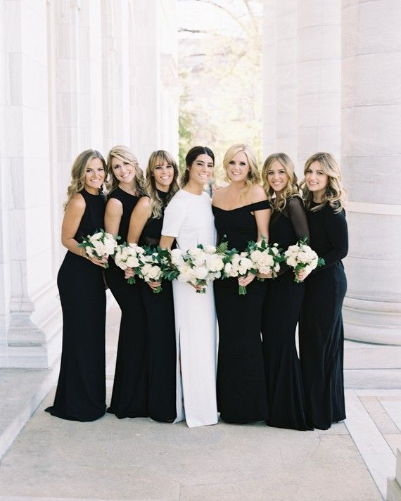 Timeless and refined, black bridesmaid gowns are as sleek and polished as you are. Plus, your no-nonsense attitude makes the foolproof hue a no-brainer—who wouldn't opt for something this effortlessly chic and universally flattering? Besides, you're sensible, too, and black is almost always versatile. Bring in the celebratory balloons, because these dresses are destined to be worn again.
