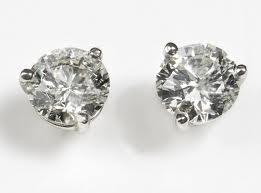 exactly what I want, 3 pronge diamond solitaire earrings.  3 karat, please!!