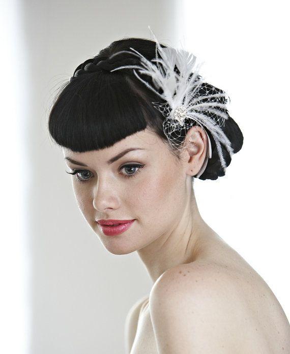 wedding hair accessory wedding hairpiece bridal hairpiece 1920s hair accessories feather tulle veil edna mavis original evie hair clip