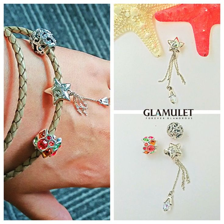 Glamulet 925 sterling silver charm beads and leather bracelet fits Pandora available on Amazon