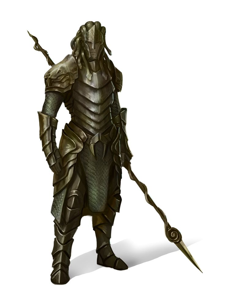 Knight In Medusa Armor With Spear Pathfinder Pfrpg Dnd D