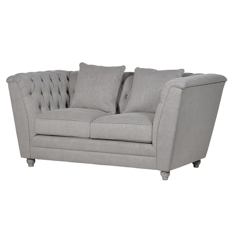 Grey Buttoned 2 Seater Box Sofa. £849.99. H: 800mm W: 1690mm D: 900mm