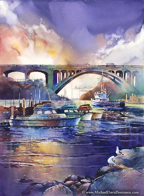"*Watercolor - ""Evening Light at Depoe Bay"" by Michael David Sorensen"
