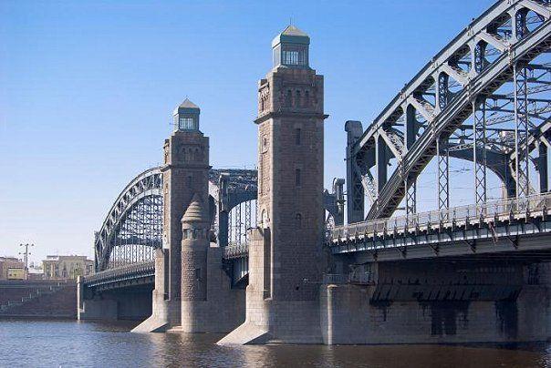 St. Petersburg, Russia Bolsheokhtinsky Bridge (Russian: Большеохтинский мост, before 1917 - Peter the Great Bridge.