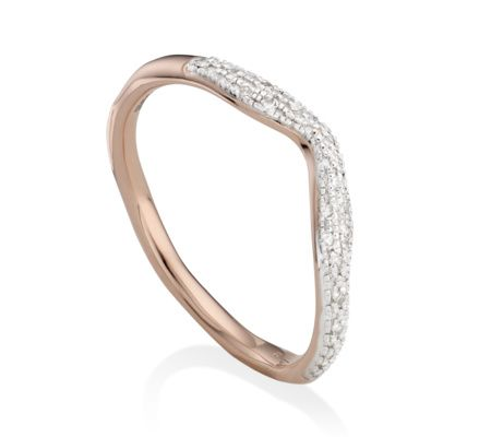 Stellar Champagne Diamond Stacking Ring, Rose Gold Vermeil on Silver Monica Vinader