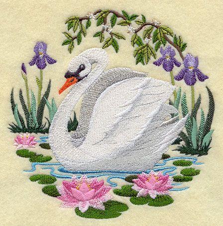Swan Scene design (H5472) from www.Emblibrary.com