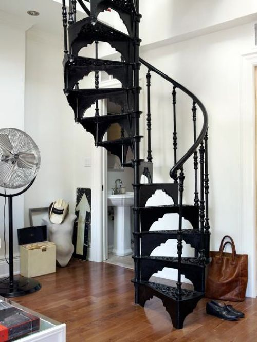 one ton wrought-iron spiral staircase - This is beautiful, but I would totally break my neck every, single day... hehe: Spirals Staircases, Dreams Houses, Living Rooms, Black Stairs, The Loft, Spirals Stairs, Loft Bedrooms, Wroughtiron, Wrought Irons