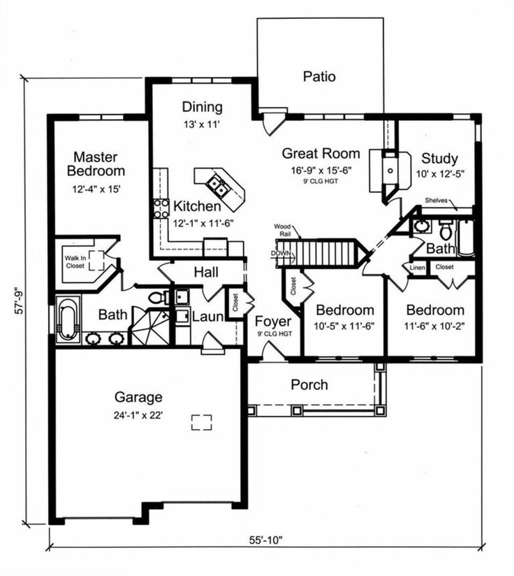 Craftsman Style House Plan - 3 Beds 2.00 Baths 1818 Sq/Ft Plan #46-524 Floor Plan - Main Floor Plan - Houseplans.com