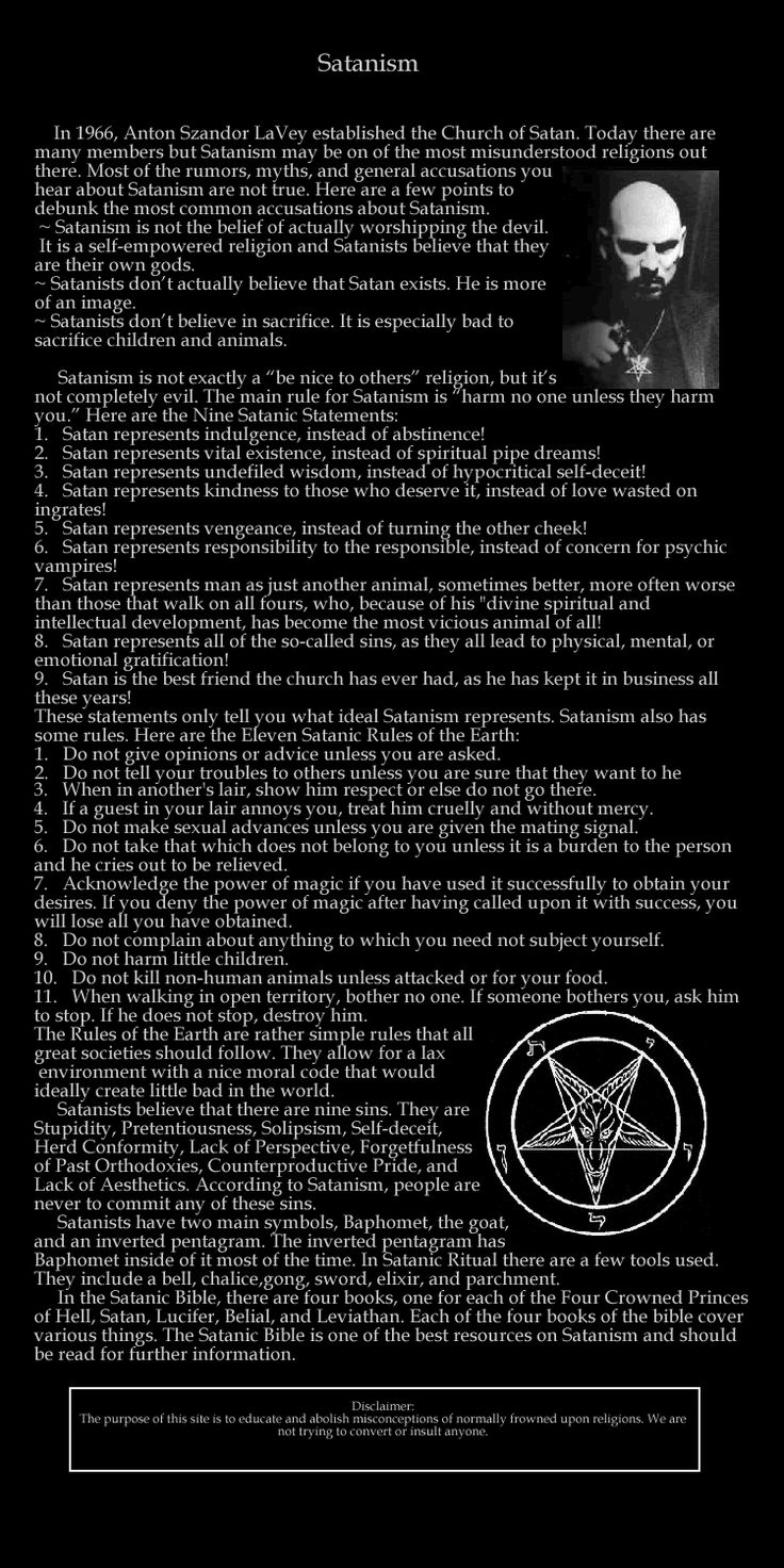laveyan satanism Reddit: the front page of the internet use the following search parameters to narrow your results: subreddit:subreddit find submissions in subreddit.