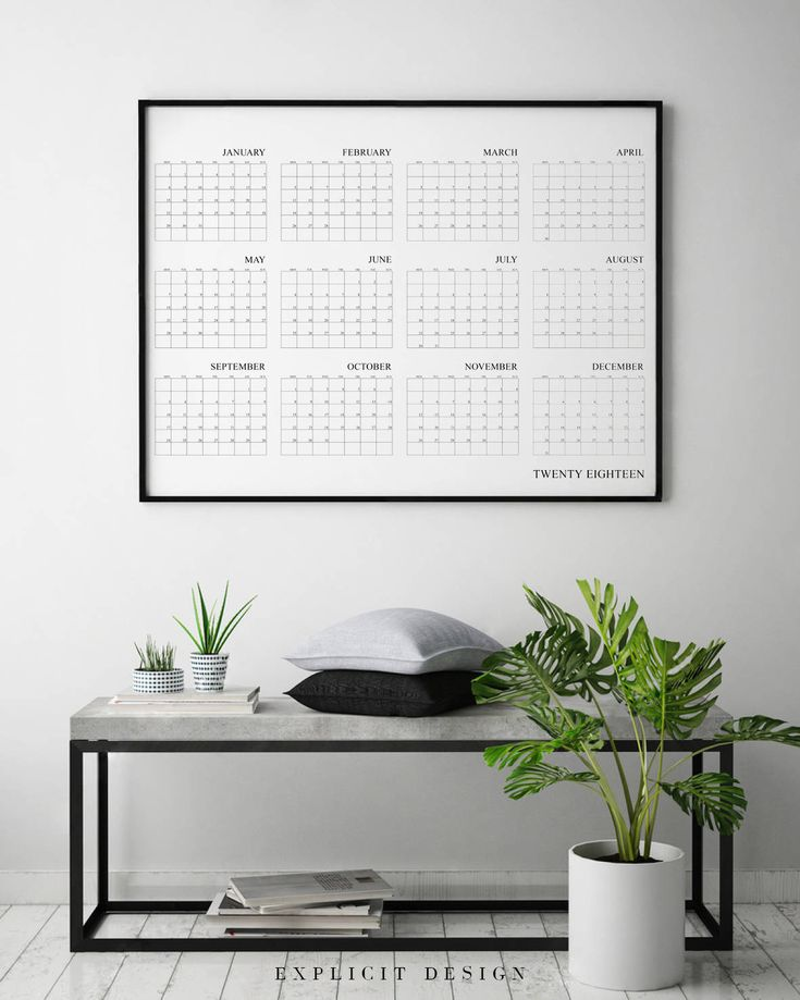 """Printable Calendar Affiche, Minimalist Year 2018 Wall Planner, Simple Horizontal Print, Minimal Fillable Calendars Decor, Instant Download. INSTANT DOWNLOAD This listing is for a DIGITAL FILE of this artwork. No physical item will be sent. You can print the file at home, at a local print shop or using an online service. INCLUDED FILES 1. High resolution JPG file in 2:3 ratio for printing the following sizes: - 4""""x6"""" - 8""""x12"""" - 12""""x18"""" - 16""""x24"""" - 20""""x30"""" - 24""""x36"""" 2. High resolution JPG…"""