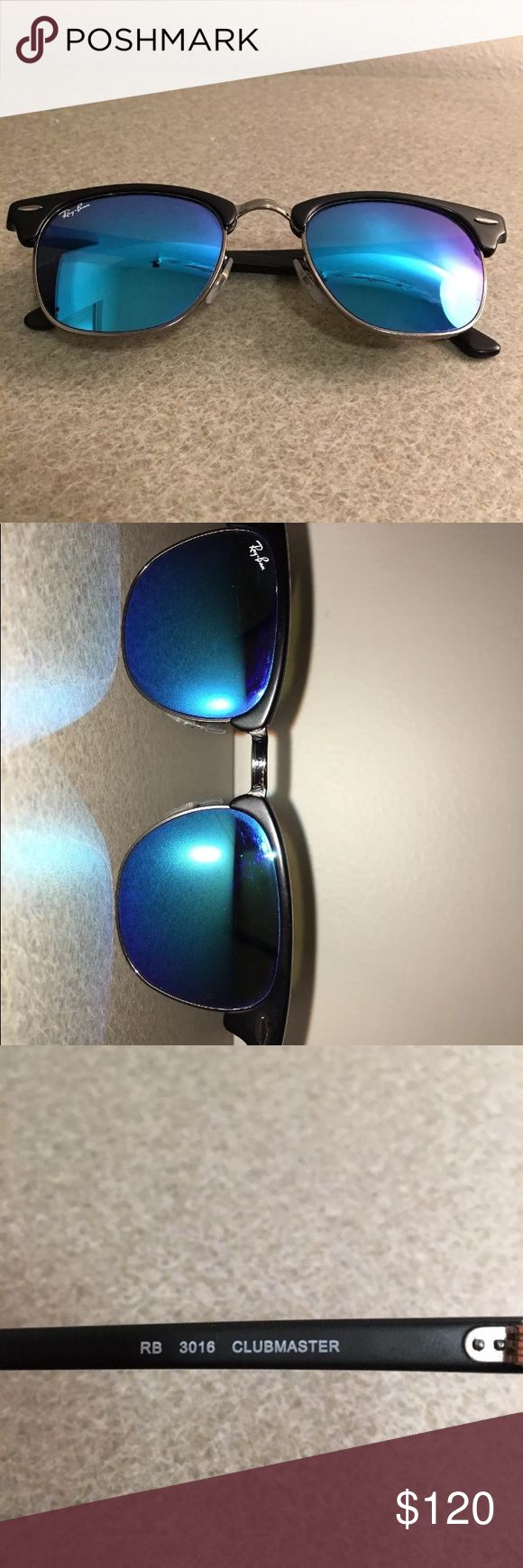 Almost brand new Club Master Ray Bans Worn a handful of times  Blue lenses  Great condition Ray Bans Accessories Sunglasses