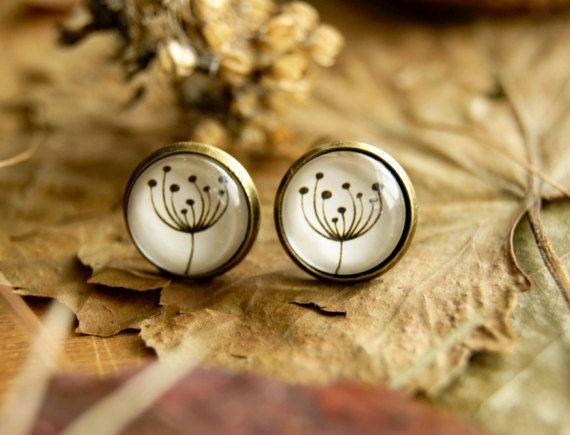 Plant dandelion stud earrings Glass earrings by InviolaJewerly
