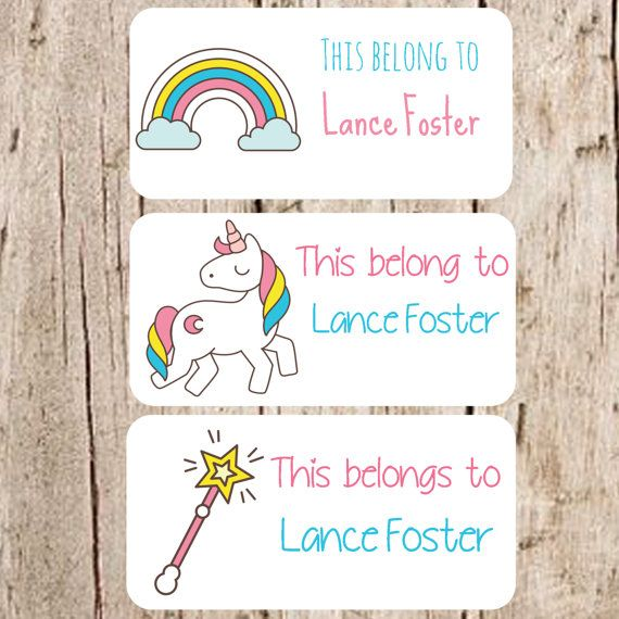 Rainbow stickersunicorn stickers kid stickers name tag stickerslabels for schoolschool labelsstickers for kidsname tagsmagic wand