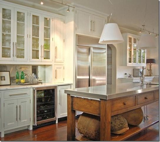 love the whole kitchen, but especially the stainless steel and wood island