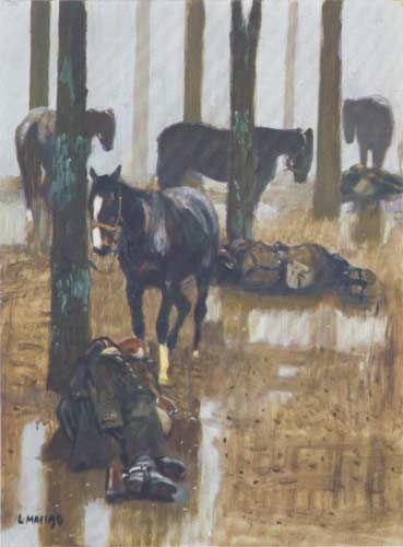 Ludwik Maciąg: Deszcz, 1990, akryl/olej-płótno, 54x73, wł. prywatna