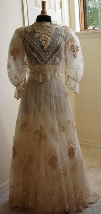 1901-1910 Edwardian Tambour Lace Wedding Dress.