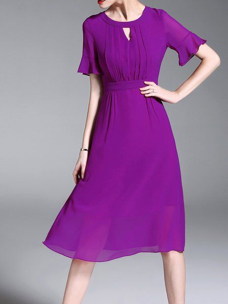 39d4fd6ef25d Buy Midi Dresses For Women from Misslook at StyleWe. Online Shopping  Keyhole Midi Dress Swing Date Chiffon Solid Dress