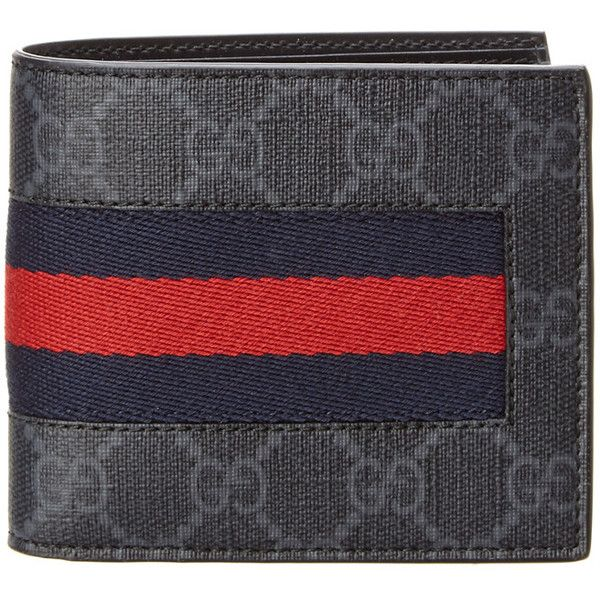 Gucci Web Gg Supreme Coin Bifold Wallet ($350) ❤ liked on Polyvore featuring men's fashion, men's bags, men's wallets, grey, mens grey wallet, mens leather wallets, gucci mens wallet, mens leather coin wallet and mens leather credit card holder wallet